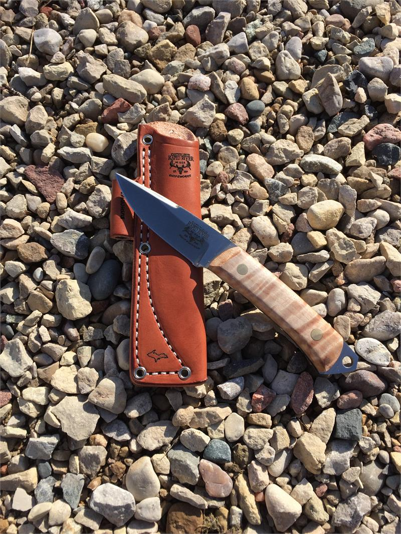 Bushcraft-1 Hunting/Skinning Survival Knife - Curly Maple Handle