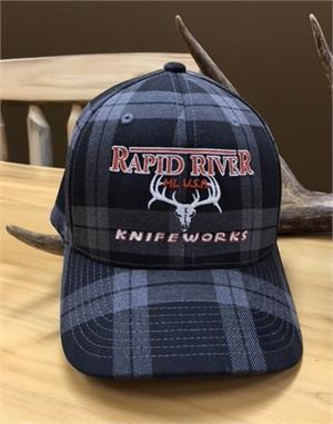 Rapid River Knifeworks Gray & Black Plaid Hat
