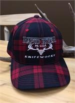 Rapid River Knifeworks Red & Black Plaid Embroidered Hat